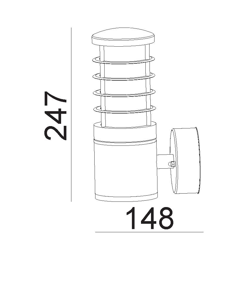چراغ دیواری E27 بیرونی, داخلی کد H128
