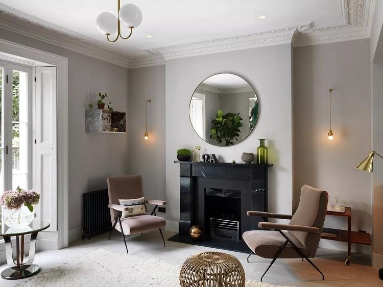 طراحی نورپردازی اتاق نشیمن با ترکیب چراغ قدیمی و جدید