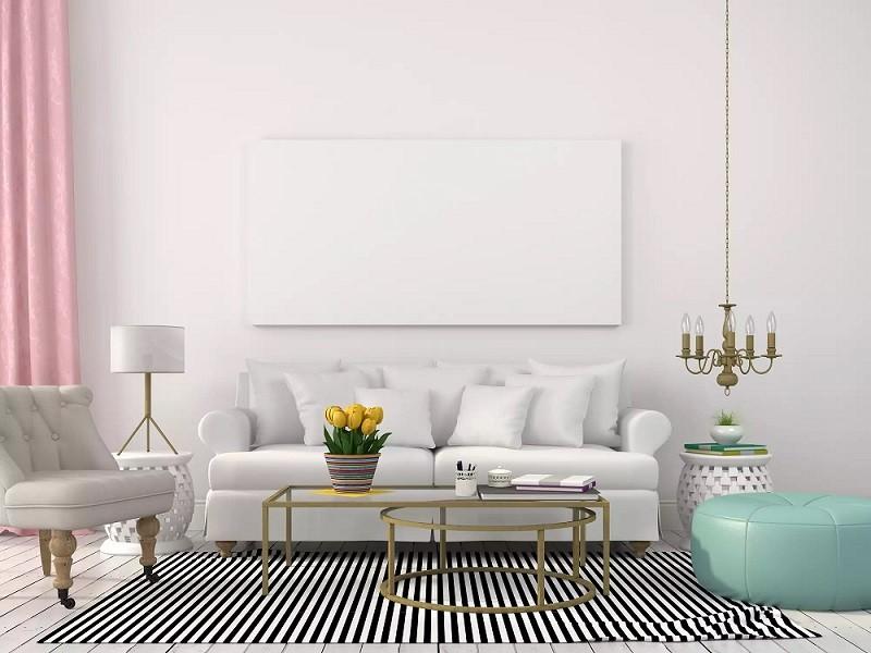 طراحی نورپردازی اتاق نشیمن با چراغ نا هماهنگ