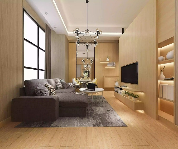 طراحی نورپردازی اتاق نشیمن با چراغ سقفی توکار
